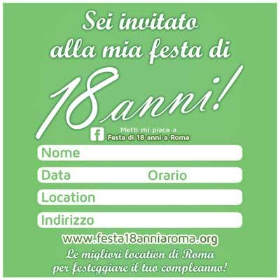 biglietto invito festa 18 anni verde facebook